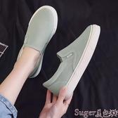 樂福鞋環球樂福鞋女2020春季新款韓版學生百搭平底懶人鞋一腳蹬帆布鞋女 suger