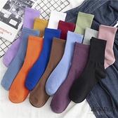 5雙裝 純色襪子女中筒襪潮薄款堆堆襪純棉長筒襪【毒家貨源】