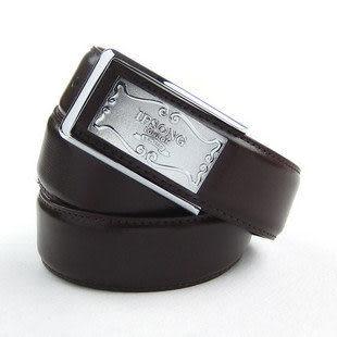 正裝男士牛皮皮帶 精品釘扣真皮腰帶 咖啡色IFSONG326