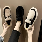 網紅毛毛單鞋女2019秋冬天新款百搭加絨保暖一腳蹬懶人豆豆棉鞋潮
