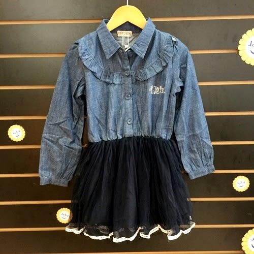 ☆棒棒糖童裝☆秋冬女大童牛仔拼接紗裙長袖洋裝 120-160