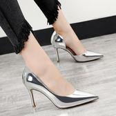 韓版時尚鞋尖頭銀色高跟鞋百搭細跟職業OL單鞋潮 米蘭shoe