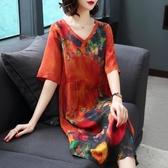 洋裝 杭州反季真絲連身裙女新款大牌清倉夏季桑蠶絲