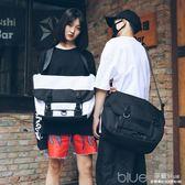 潮牌同款大容量15.6寸電腦包街頭時尚潮流斜背包女bf單肩包背包男 深藏blue