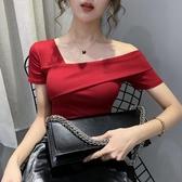 高腰T恤 2020年夏季新款韓版短款短袖t恤修身紅色斜肩緊身打底上衣女ins潮 麗人印象 免運