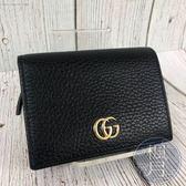 BRAND楓月GUCCI GG 古馳 456126 黑色 皮革 經典金色雙GLOGO 二折短夾 皮夾 錢包
