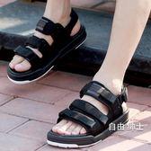 (百貨週年慶)涼鞋涼鞋男士沙灘鞋夏季戶外潮港風學生休閒正韓情侶運動兩用拖鞋