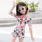 兒童泳衣女新款夏洋氣連體短袖泳裝女童韓版中小童寶寶游泳衣 快速出貨