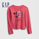 Gap女童 Gap x Disney 迪士尼印花圓領長袖T恤 650425-粉紅色