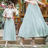 洋裝 原創女裝春季新款棉麻民族風半身裙 繡花立體素雅高腰