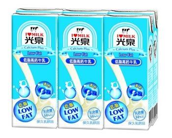 光泉低脂高鈣牛乳200ml,6罐/組