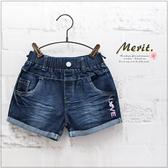 中大童 LOVE刺繡反摺牛仔短褲 刷色 單寧 女童 牛仔褲 鬆緊腰 童裝
