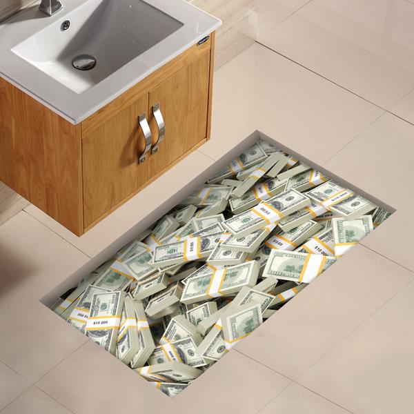 3D墻貼立體客廳創意地板貼畫洗手間浴室防水耐磨地磚貼防滑地貼墊