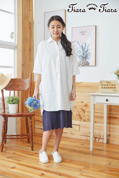 【Tiara Tiara】百貨同步aw 爆賣純棉花邊百搭吊帶襯衣(白/米/藍)
