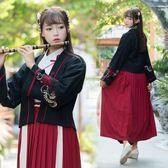 中國風少女復古繡花改良漢服女刺繡對襟褙子漢元素雙層外套