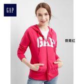 Gap女裝 Logo連帽拉鏈開襟長袖休閒外套 400685-唇膏紅