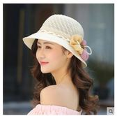 女花朵遮陽夏季可折疊防曬沙灘遮臉太陽帽LYH2311【大尺碼女王】