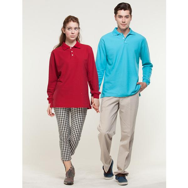 情侶裝長袖 長袖polo衫 發熱衣 快速出貨 暗紅