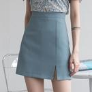 EGGKA藍色西裝短裙女夏季a字高腰開叉半身裙不規則復古顯瘦包臀裙  【端午節特惠】