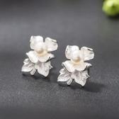 耳環 925純銀珍珠-牡丹花設計情人節生日禮物女飾品73hl15【時尚巴黎】