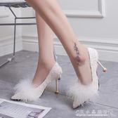 小清新高跟鞋百搭韓版細跟少女尖頭淺口貓跟網紅單鞋 水晶鞋坊