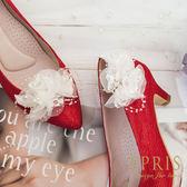 韓國直送手工獨家訂製 復古典雅蕾絲花 婚鞋推薦飾扣鞋夾