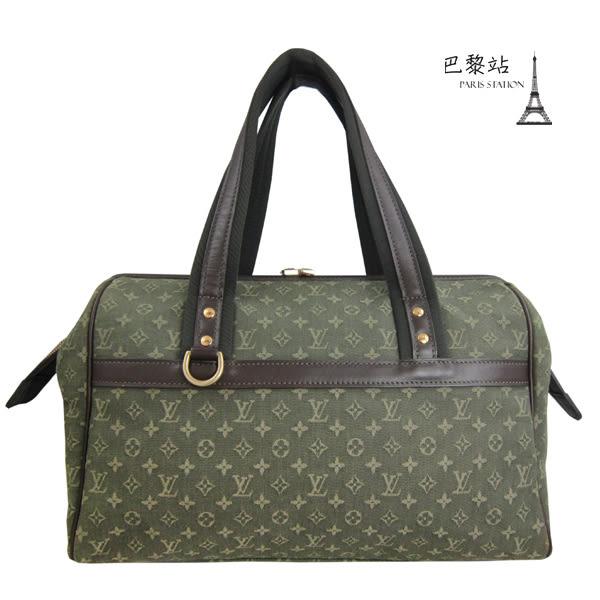 【巴黎站二手名牌專賣店】*現貨*LV 路易威登 真品*綠色丹寧緹花 醫生包波士頓包手提包