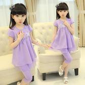 女童套裝 童裝女童純棉套裝5中大兒童6小女孩8韓版9兩件套11新款夏裝4-13歲 俏女孩