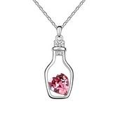 水晶項鍊+925純銀吊墜-瓶中心造型生日情人節禮物女飾品3色73bb5【時尚巴黎】