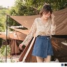 《KG1099-》高含棉不對稱裙片設計水洗牛仔褲裙 OB嚴選
