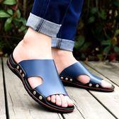 男士室外沙灘拖鞋夏防滑外穿時尚韓版一字拖涼拖個性潮流休閒涼鞋  卡布奇诺