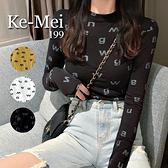 克妹Ke-Mei【AT70245】JELLY個性女滿版字母圖印秋簿款U領長袖上衣