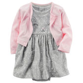 Carter's平行輸入童裝 女寶寶 短袖連衣裙洋裝&薄外套 灰貓咪【CA121H747】