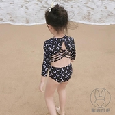 兒童泳衣連身長袖防曬女童可愛游泳衣公主溫泉泳裝【貼身日記】