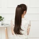 限定款假髮 韓系假髮馬尾鞭女中長直髮接髮綁帶式微捲馬尾假髮逼真舒適自然假馬尾