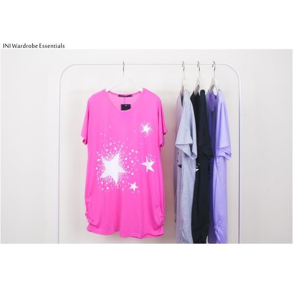 【INI】輕鬆自在、輕柔薄棉印花寬版上衣.粉色