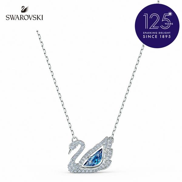 施華洛世奇 Dancing Swan 白金色舞動天鵝藍水晶項鏈