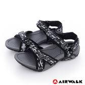 AIRWALK(男) - 小野人 越野戶外輕量防滑涼鞋-黑迷彩