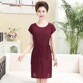 雪紡短袖洋裝2018夏裝新款女顯瘦中長款大碼 LQ4170『科炫3C』