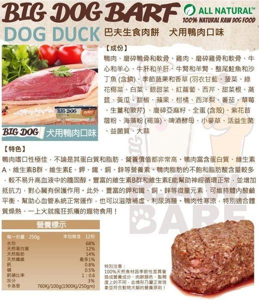 *WANG*【免運】BIG DOG BARF 巴夫生-犬用生食肉餅 鴨肉口味-12入=3kg //補貨中