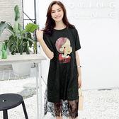 ★韓美姬★中大尺碼~個性印花蝙蝠袖設計短袖洋裝(XL~4XL)