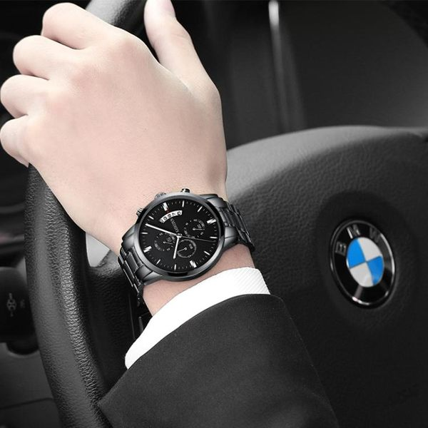 手錶男男士運動石英錶防水時尚潮流夜光精鋼男錶手腕錶