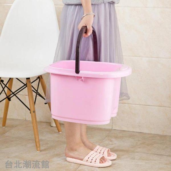 咖啡熊家用泡腳桶按摩足浴桶足浴盆兒童洗腳桶洗腳盆加高塑料 tw