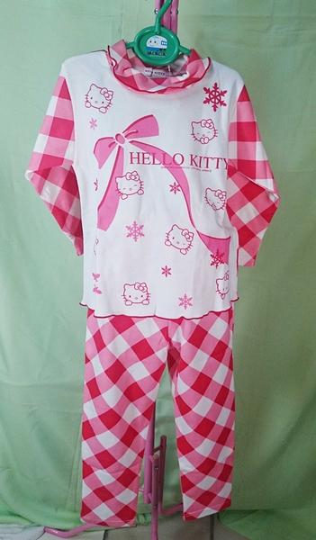 【震撼精品百貨】Hello Kitty 凱蒂貓~衣褲組_紅白格紋