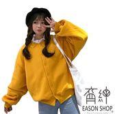 EASON SHOP(GW4410)實拍慵懶風百搭純色刷毛加絨加厚前排釦長版OVERSIZE泡泡袖長袖休閒外套女上衣服