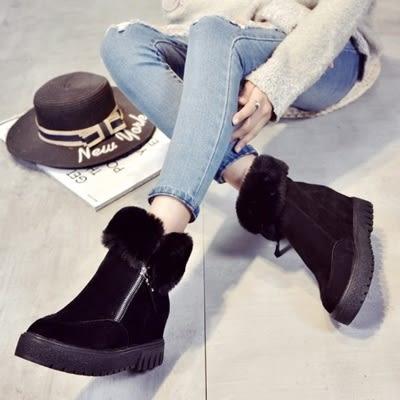 中筒雪靴-時尚百搭內增高側拉鏈女厚底靴子2色73kg70【巴黎精品】