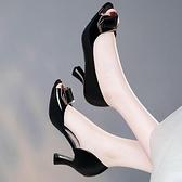 魚嘴鞋魚嘴涼鞋女夏新款韓版中跟韓版百搭高跟鞋漆皮細跟時尚女鞋子 迷你屋