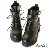 amai經典拉鏈綁帶鋸齒厚底軍靴 黑