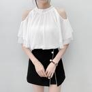 雪紡衫 白色露肩襯衫女裝夏季2021年新款短袖很仙的上衣超仙甜美洋氣 維多原創