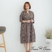 【Tiara Tiara】滿版花繪傘下擺寬版洋裝(咖啡)